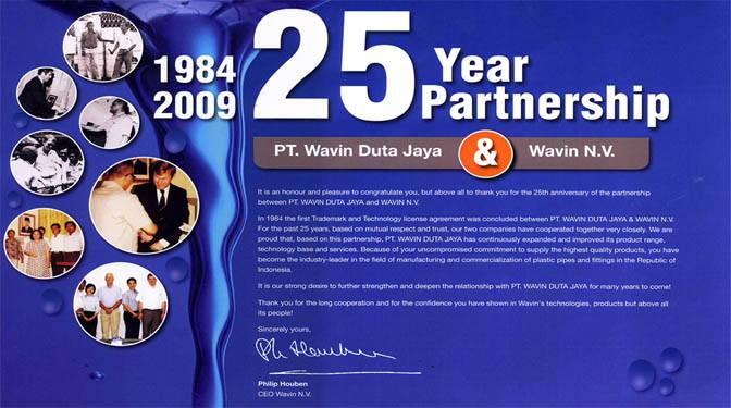 25 Year Partnership PT Wavin Duta Jaya dan Wavin N.V.