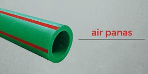 Wavin Tigris Green dengan ciri 4 strip merah di badan pipa yang digunakan untuk mengalirkan air panas