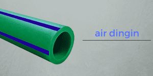 Pipa Wavin Tigris Green dengan ciri 4 strip biru yang dapat digunakan untuk mengarikan air dingin