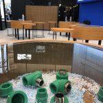 konsep booth industrial lounge