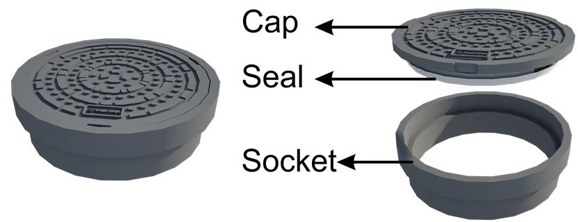 Tutup datar dengan seal kedap udara, bau dan air sehingga membuat saluran perpipaan lebih higienis